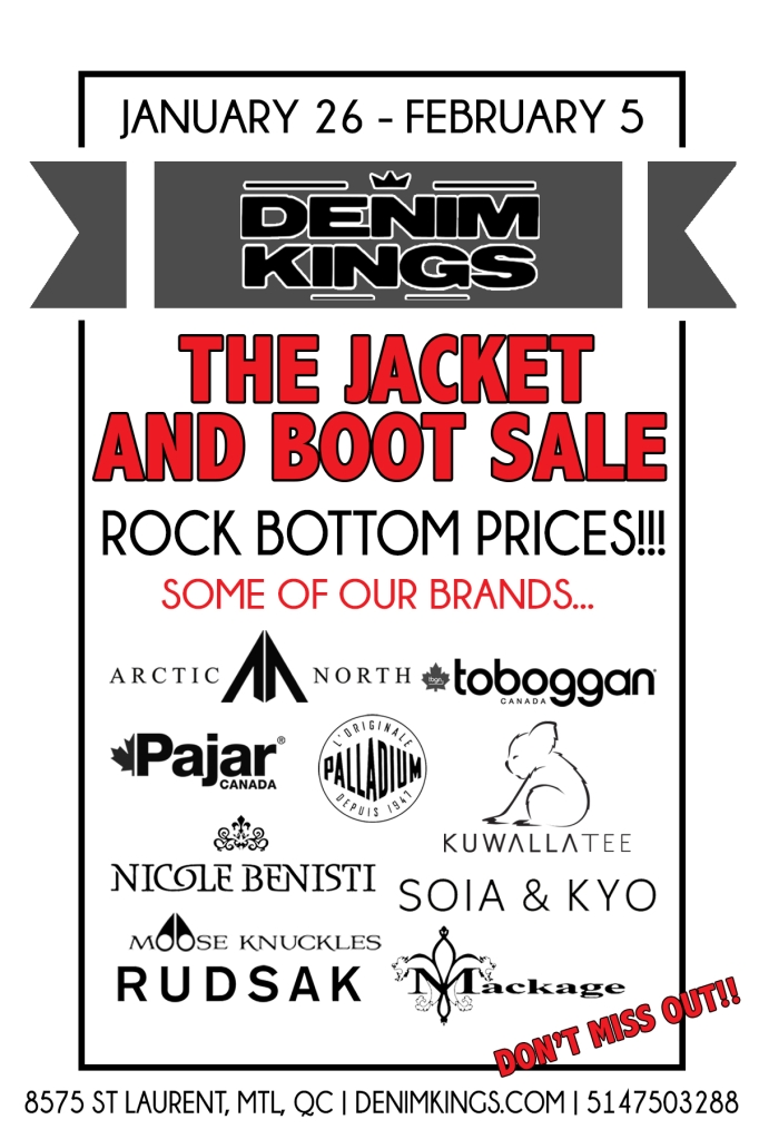 Jackets and Boots Sale Jan 2017