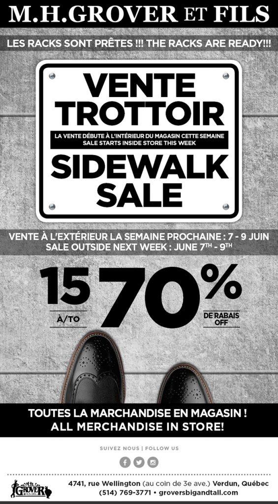 c2908a6edcb50 Sale dates  inside store sale starting now  Sidewalk Sale – June 7 -9.  Metro Stop Station Verdun   Station de l Eglise www.groversbigandtall.com